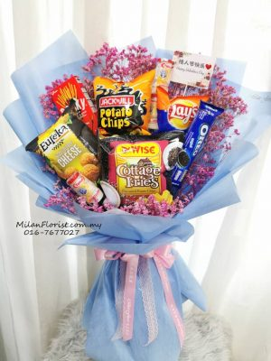 Milan Florist Snack Bouquet 米兰零食花束 各种不同的零食 美味无比,Snack, Snack Bouquet, Floral Basket Table Flower Table Centerpiece Flower Basket Fortune Cat prosperous cat Lucky Cat JB FLORIST JOHOR FLORIST JOHOR BAHRU FLORIST MOUNT AUSTIN FLORIST SKUDAI FLORIST NUSAJAYA FLORIST MALAYSIA FLORIST KSL FLORIST TOPPEN FLORIST PARADIGM FLORIST MIDVALLEY SOUTHKEY FLORIST CITY SQUARE FLORIST 新山花店 柔佛花店 皇后花店 马来西亚花店 开张花篮 开幕花篮 开业花篮 乔迁之喜 生意兴隆 大展宏图 鲜花 假花 Kedai Bunga Johor Bahru